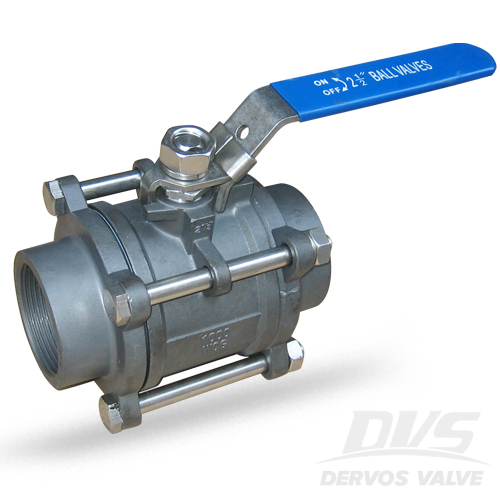 3PCS Ball Valve, DN65, 1000WOG, NPT, 304