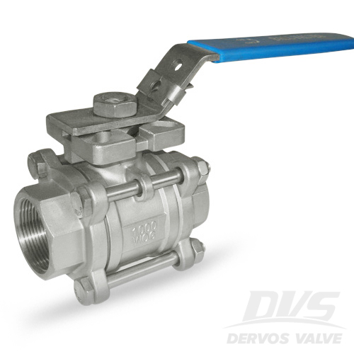 3PCS Ball Valve with Lock, 1 1/4IN, 1000WOG, NPT, SS316
