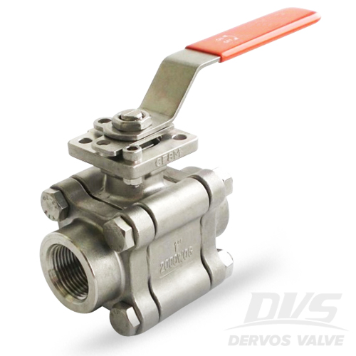 3PCS Ball Valve with Lock, DN25, 2000WOG, NPT, CF8M