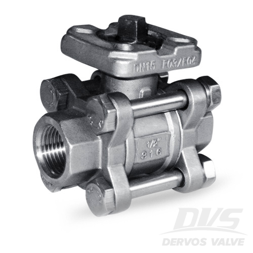 3PCS Ball Valve with Top Flange, 1/2IN, 1000psi, NPT, 316